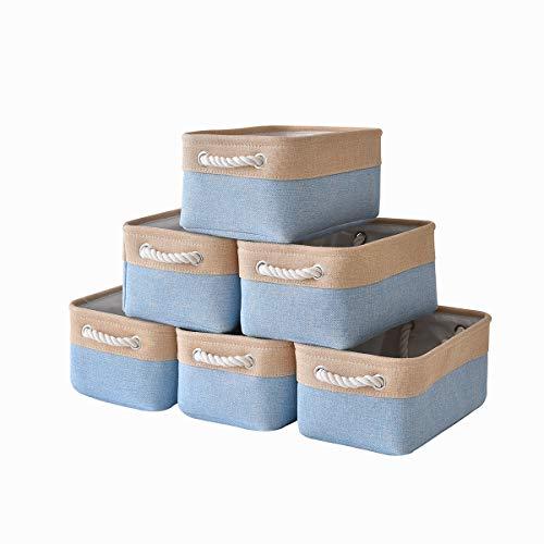 "pulnimus Fabric Storage Baskets Set [6 Pack] Small Storage Bins, Nursery Baskets 12""x 8"" x 5""Cloth Baskets for Baby, Empty Gift Baskets with Rope Handles, Rectangular Basket, Decorative Closet Baskets"
