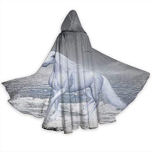 Amanda Walter Capa de Capa para Adultos Mar en Tablero de ajedrez con un Caballo Unicornio Unisex Capa de tnica con Capucha de Longitud Completa Capa Larga Disfraz de Cosplay