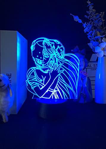 Lâmpada de ilusão 3D Anime Acrílico LED Lâmpada noturna Anime Elfen Lied Lucy NYU Figura de mesa 3D para quarto de crianças, luz noturna, presente de mangá WeieJ