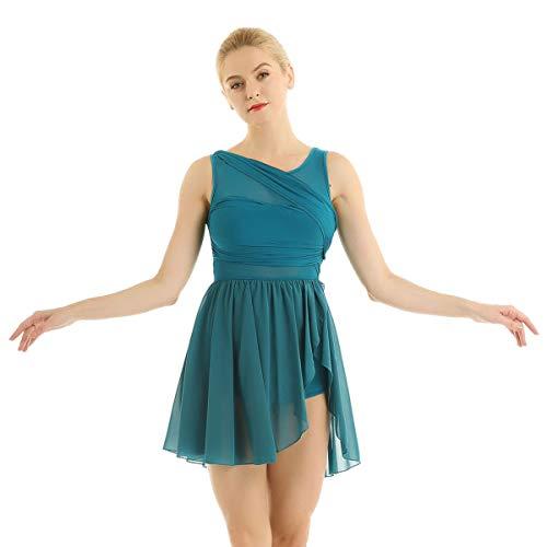 inlzdz Vestido de Ballet Danza Latina Mujer Mailot de Danza Contemporanea Leotardo Gimnasia Rítmica Traje de Bailarina Vestido de Actuación Fiesta Espectáculo Verde X-Small