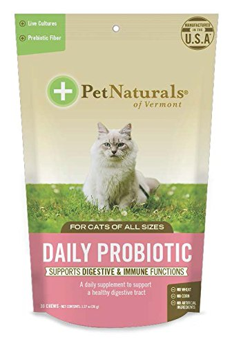 Pet Naturals of Vermont - Daily Probiotic for Cats, Digestive Supplement, 30 Bite-Sized Chews