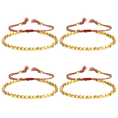 Heyu-Lotus 4 Pcs Tibetan Handmade Copper Bead Bracelets, Adjustable Buddhist Lucky Bracelet Rope Braided Bracelet with Tassels for Women Men Teens Protection Amulet