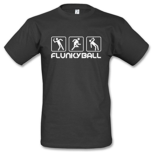 Flunkyball Icons T-Shirt Schwarz Blau Gelb (L, Schwarz)