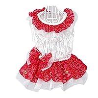 MINGTAI 女の子の夏のパーカーベストのスカートのために小中型犬プードルXS、S、M、L、XLのために黒の花柄ドレスレースプリンセスチュチュシャツ服 (Color : Red, Size : XS)