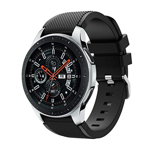 Samsung Galaxy Watch 46mmバンド Comtax 22mm シリコン製 交換用バンド Samsung Galaxy Watch 46mm バンド (ブラック)