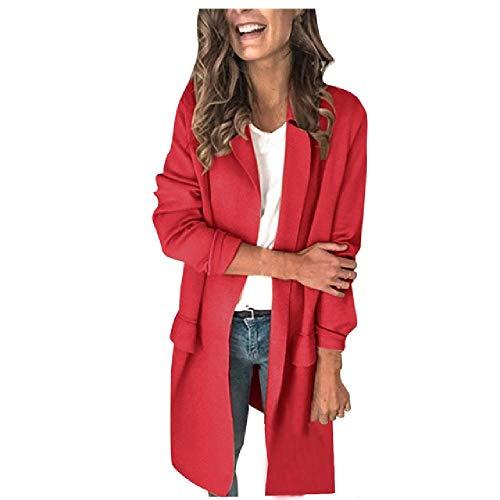 N\P Abrigo blazer para mujer, de manga larga, para mujer rojo S