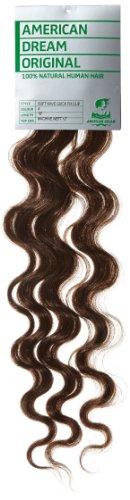American Dream - A4/QFC12/18/4 - 100 % Cheveux Naturels - Douce Ondultation - Pièce Unique Extensions à Clipper - Couleur 4 - Brun Châtain - 46 cm