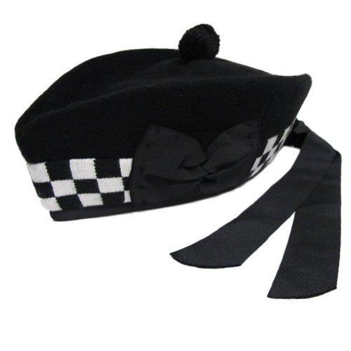 Tartanista - Herren Glengarry-Mütze - traditionell schottisch - Schwarz & schwarz-weiß kariert am Rand - 60 cm