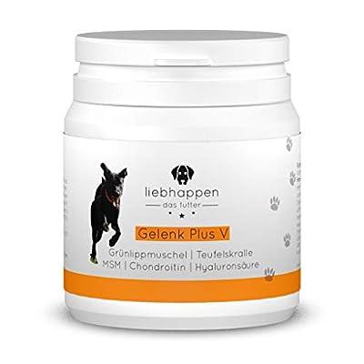 liebhappen Gelenk Plus V Gelenktabletten für Hunde mit Grünlippmuschel, MSM, Teufelskralle, Kollagen, Chondroitin und Hyaluronsäure - 60 Tabletten (90g)