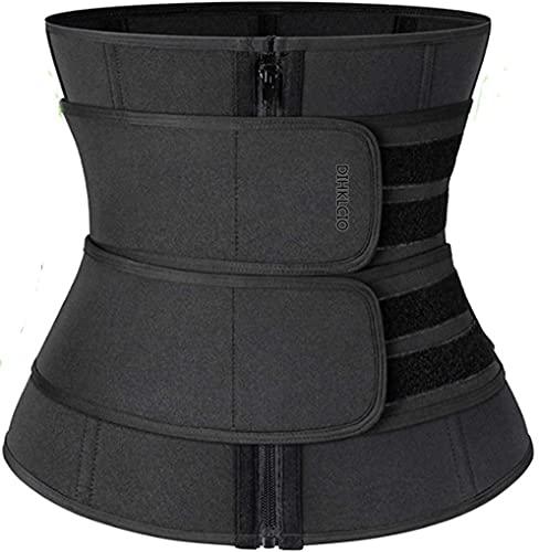 JWKK Waist Trainer Corset Trimmer Belt for Women Weight Loss,Sauna Sweat Waist Trainer Corset, Everyday Wear Plus Size Body Shaper Corsets for Women Top Corset Trimmer Belt (L,Black)