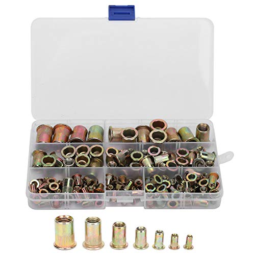 Marhynchus -128 piezasTuerca de remache de acero, galvanizada en color, en caja, M3/4/5/6/8/10/12, combinación de tuercas de remache, rosca vertical con cajas de almacenamiento
