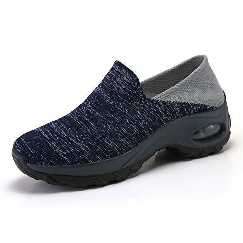 DAYOUT Zapatillas de plataforma para mujer Wallking Zapatos de malla transpirable de aire acolchado señora casual deporte tenis zapatos cómodos, color Gris, talla 40 EU ✅