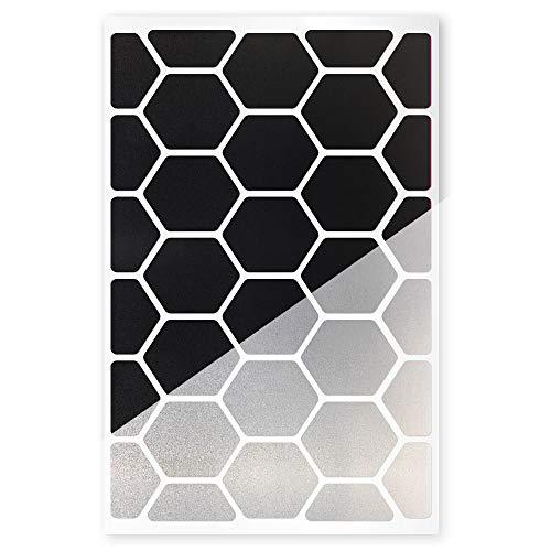 reflexsticker Hexagon   Classic-Edition   6 Farben zur Auswahl   Zwei Reflexionsstärken (Light und Pro)   Bogenmaß L (16 x 10,5 cm)   Reflektoren für Kinderwagen, Fahrradrahmen, Helme (Light-schwarz)