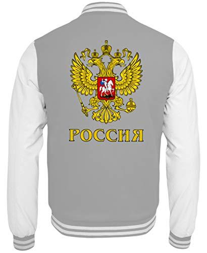 Poccnr Shirt Rusia Russia College - Sudadera Gris y Blanco XL