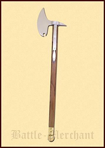 Reiteraxt, um 1500 Kampfaxt ca 127 cm lang Axt Beil LARP Ritter Wikinger Mittelalter Verkauf ab 18 Jahren