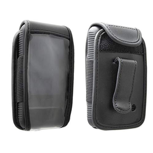 caseroxx Hülle Ledertasche mit Gürtelclip für Dexcom G6 aus Echtleder, Tasche mit Gürtelclip & Sichtfenster in schwarz
