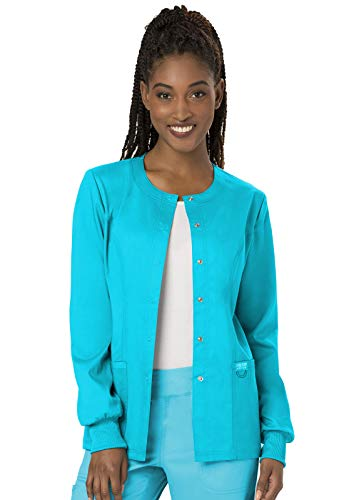 CHEROKEE Workwear WW Revolution Snap Front Jacket, WW310, M, Turquoise