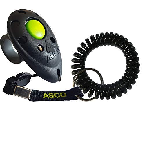 ASCO Premium Finger Clicker mit Spiralarmband für Clickertraining, Hunde Katzen Pferde Profi-Clicker, Hundetraining Klicker schwarz AC01FS