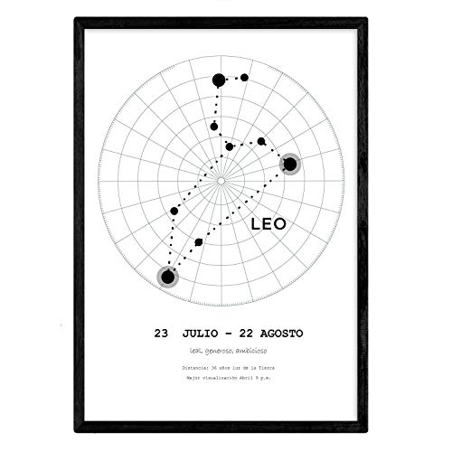 Lamina met het sterrenbeeld Leo. Poster met een stersymbool in A4-formaat en achtergrond van de sterrenhemel