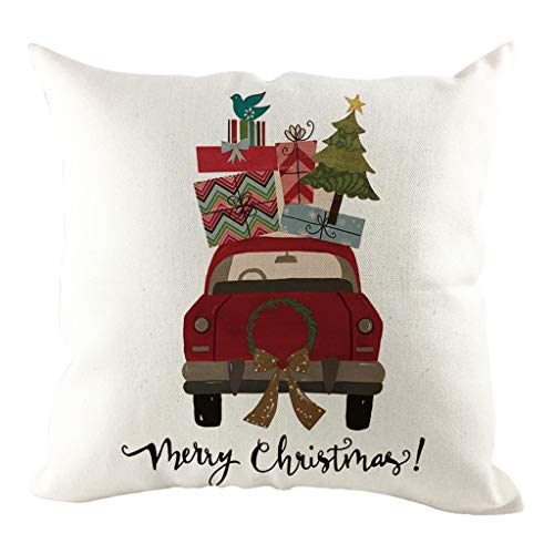 Yowablo Kopfkissenbezug Zierkissenbezug Merry Chrismas Christmas Trees Auto Drucken Muster für Büro,Zuhause,Auto,Café,Laden,Bibliothek usw (45cm x 45cm,K)