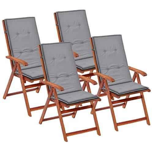 UBaymax Gartenstuhl Auflage Hochlehner 4 STK. 120 x 50 x 3 cm, weich Stuhlauflage Gartenauflagen Sitzkissen Rückenkissen für Hochlehner-Gartenmöbel, Grau