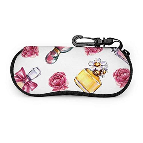 Estuche para gafas Aroma romántico Retro Perfume colorido Estuche para gafas de sol para mujer Estuche para anteojos Estuche ligero portátil Estuche para gafas de sol para jóvenes, 17x8cm