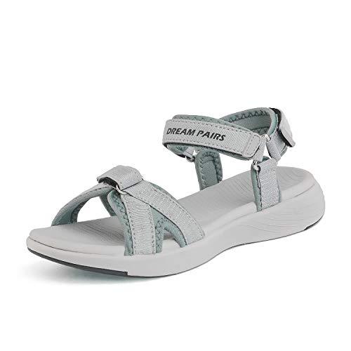 DREAM PAIRS Women's Athletic Sport Sandals Hiking Sandal Grey Size 5.5 M US QDL19001L