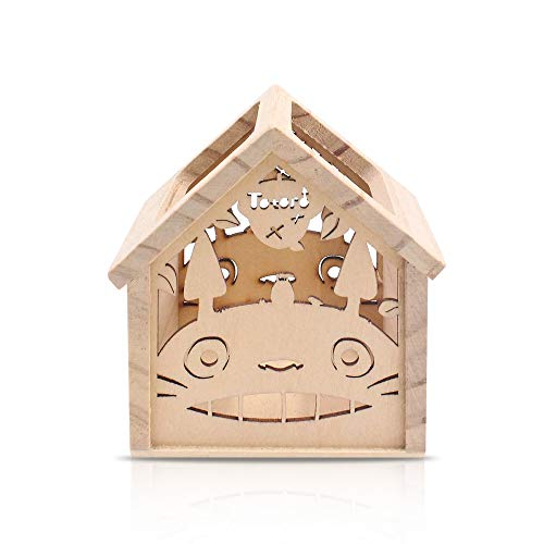 Finex My Neighbor Totoro Wooden Cuboid Hollow Wood Carving Design Pencil Holder and Pen Holders Box for Desk