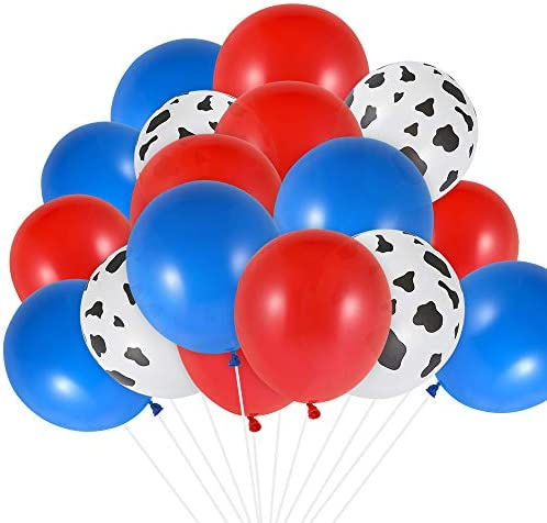 Auihiay 50 Pieces 12 Inch Western Balloons Include Red Blue Cowboy Balloons Cow Print Balloons product image