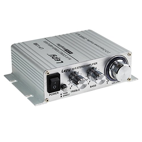 『Lepy 新モデル LP-V3S 25W×2 Hi-Fi デジタル オーディオ アンプ TA8254搭載 拭き布付き (銀)』の1枚目の画像