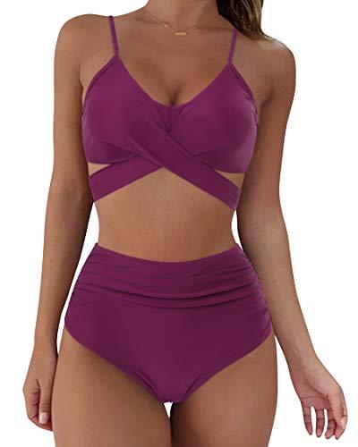 SUUKSESS Women Wrap Bikini Set Push Up High Waisted 2 Piece Swimsuits (M, Wine Red)