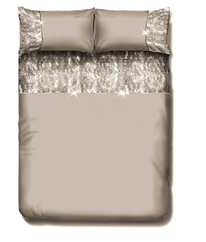 EHD Valentina Crushed Velvet Shiny Duvet Cover Sets Reversible Bedding Sets With Matching Pillowcases (Gold, King)