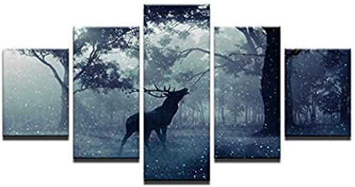 minoristas en línea Lienzo de de de Pintura de 5 Piezas Lienzo Arte de la Parojo Imágenes Decoración para el hogar Impresiones HD Carteles de 5 Piezas Bosque Animal Ciervos Elce Nieve Paisaje Pinturas Marco  productos creativos