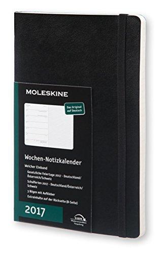 Moleskine Taschenkalender, 12 Monate Wochen Notizkalender, 2017, Groß, A5, Soft Cover, Deutsch, schwarz