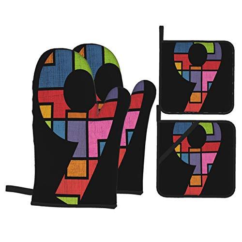 Guante de Horno de 4 Piezas y agarradera,Diseño del símbolo número 9,Guantes Aptos para Alimentos Antideslizantes Impermeables y Resistentes al Calor para microondas cocinar y Hornear en la Co