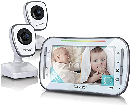 [HD] Video Baby Monitor, AXVUE 720P 5  HD Display, IPS Screen, 2 HD Cams, 20-Hours Battery Life, 1000ft Range, 2-Way Communication, Secure Privacy Wireless Technology