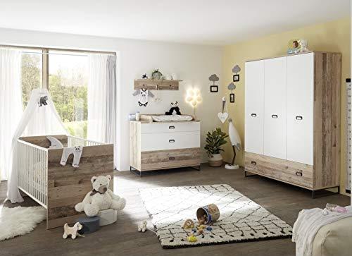 möbel-direkt Babyzimmer Ronny in Old Style Weiß 6 teiliges Megaset mit Schrank, Bett mit Lattenrost und Umbauseiten, Wickelkommode und Wandregal …