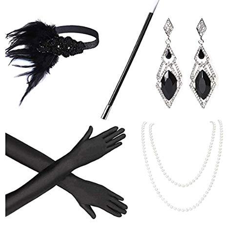 iSpchen 1920s Flapper Accesorios Años 20 Disfraz Charlestón Vintage Diadema Collar de Perlas, Pendientes, Guantes Largos, Boquilla 1920 Grandes Accesorios Gatsby para Mujer