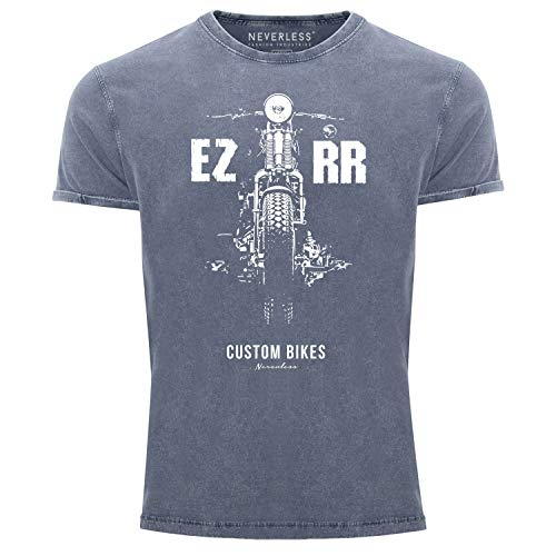 Neverless® Herren T-Shirt Vintage Shirt Printshirt Biker Motorrad Chopper Motiv Used Look Slim Fit blau L