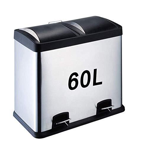 ZXL vuilnisbak, dubbele vuilnisbak, geschikt voor keuken/bad/woonkamer/kantoor, commerciële container 16L / 24L / 30L / 45L / 48L / 60L extern afval BinSilver Afvalscheidingssysteem Afval