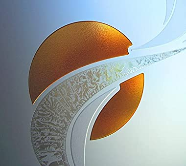 Sans Soucie - / Entry Door - Ribbon Reflection Moons - 3D Painted Frosted - Geometric / Fiberglass Smooth