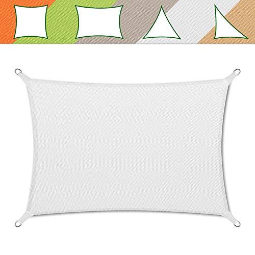 casa pura® Sonnensegel wasserabweisend imprägniert | Testnote 1.4 | Rechteck | UV Schutz Größen (weiß, 3x5m)