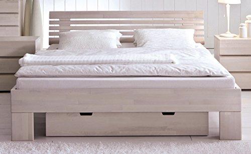 HASENA Bettgestell Wood Line Buche weiß Kopfteil Litto 140x200