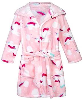 Kids Little Boys Girls Cartoon Hooded Bathrobe Toddler Robe Pajamas Sleepwear  4-5T Pink unicorn