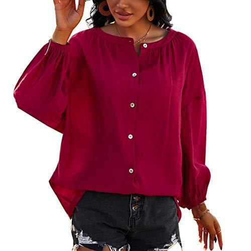 Camisa Holgada De Manga Larga con Cuello Redondo De Primavera Y Verano para Mujer, Blusa De Color SóLido, CáRdigan, Camiseta para Mujer