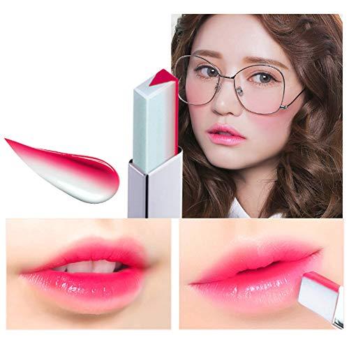 WISREMT Lápiz labial bicolor en forma de V Brillo labial resistente al agua de larga duración - Labios hidratantes - Pintalabios brillantes