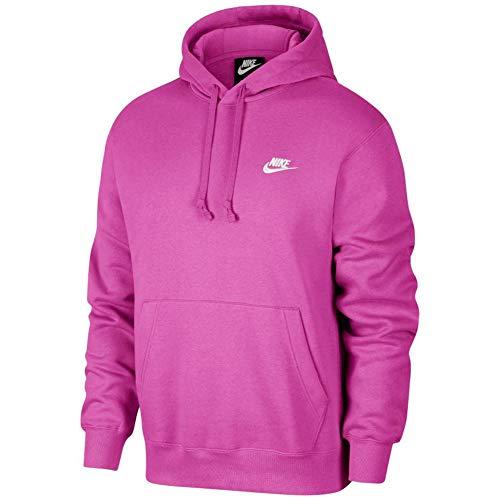Nike Men's NSW Club Pullover Hoodie Capucha, Fucsia Activa/Fucsia Cósmica/(Blanco), Large-T para Hombre