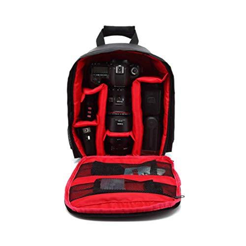 Zaino per fotocamera DSLR/SLR, in nylon, impermeabile, per fotocamera portatile, per fotocamera Canon Nikon, Sony, senza specchio, flash e altri accessori (rosso)