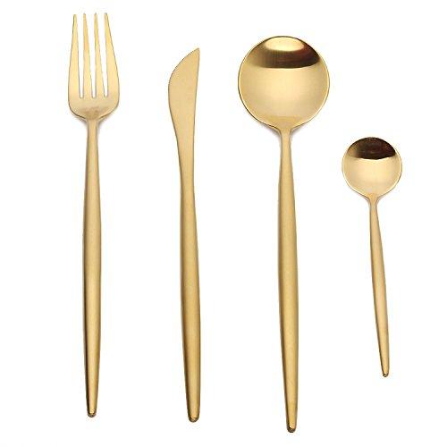 Design Stiel - Juego de cuchillos de carne (acero inoxidable pulido, para 4, 6 y 12 personas), color dorado