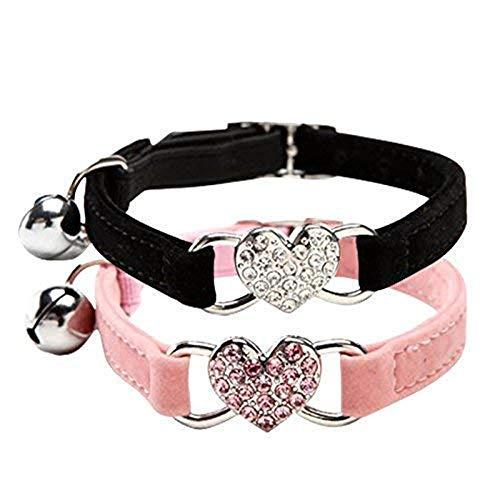 DAIXI Collares para Gatos con la Campana y del Cristal del corazón Suministros Linda del Animal doméstico Negro + Rosa